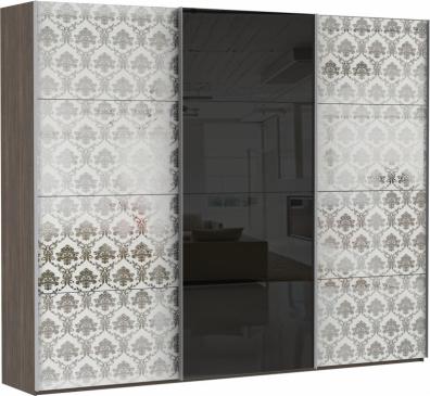 Эста 3-х дверный, 8 деко. стекол Барокко, 4 черных стекол.