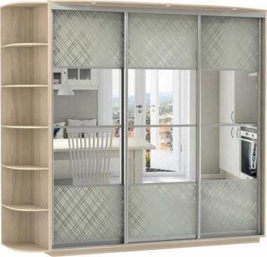 3-х дверный, корпус Ясень Шимо светлый, двери 4 секции деко. стекло, зеркало